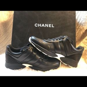 Chanel black trainers sneakers size 37.5
